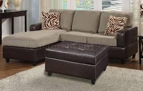f7669 poundex pebble microfiber u0026 faux leather small sofa ottoman