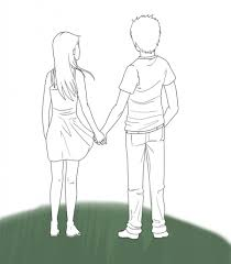 drawing of couple holding hands drawing art library