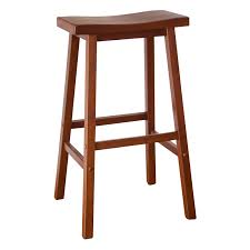 lacquered mahogany wood bar stool with saddle seat of winsome bar