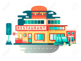 restaurant building flat design architecture facade food cafe
