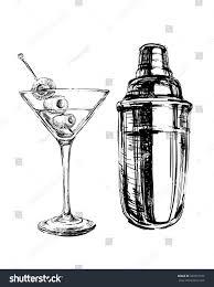 martini drawing sketch martini cocktails olives shaker vector stock illustration