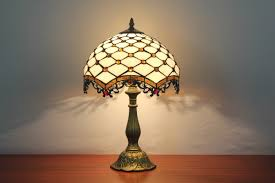Tiffany Table Lamp Shades Fishnet Painted Stained Glass Vintage Tiffany Table Lamp Parrotuncle