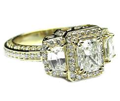 yellow gold diamond rings engagement ring radiant diamond vintage design halo engagement