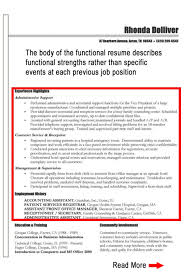 Executive Assistant Functional Resume Functional Resume Example