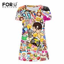 emoji robe forudesigns drôle emoji imprimé femmes robe 2017 marque de mode mini