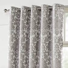 Black Eyelet Curtains 66 X 90 Camden Damask Silver Woven Chenille Lined Eyelet Curtains Dove Mill