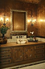 faux painting cabinets powder room traditional with brown wall