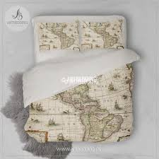 Old Map South America by America Old Map Bedding Vintage Old World Map Duvet Cover Set