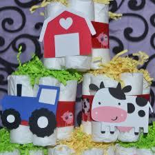 down on the farm barnyard baby shower 6 pc mini diaper cake set