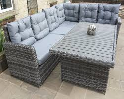 Outdoor Rattan Corner Sofa Gray Wicker Outdoor Furniture