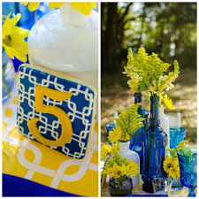 blue and yellow decor cobalt blue and yellow tablescape pensacola wedding planner