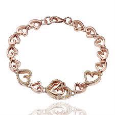 rose bracelet charm images Buy generic tb women rose gold plating heart link chain bracelet jpg