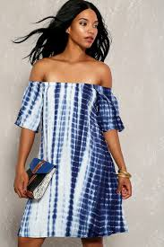 navy white tie dye off the shoulder short sleeve casual dress