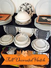 halloween tableware fall decorated hutch the style sisters