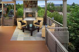 elevated deck with fireplace for sumptuous outdoor entertaining