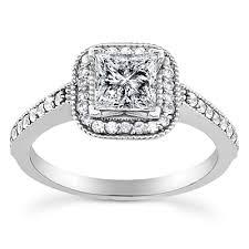 princess cut halo engagement ring 3 4ct princess cut halo vintage engagement ring 14k white gold