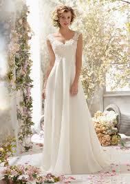 Lace Wedding Dresses Alencon Lace Wedding Dresson Delicate Chiffon Style 6778 Morilee
