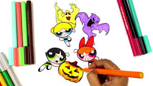 coloring powerpuff girls halloween coloring pages halloween