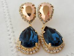 blue chandelier earrings navy blue and gold chandelier earrings drop earrings