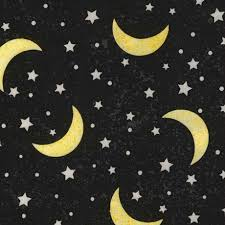 black grey fabric with yellow moon white by timeless