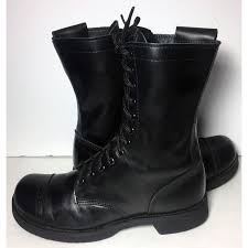 womens combat style boots size 12 jump 10 inch black leather side zipper combat boots s