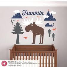 Animal Wall Decals For Nursery Etsy Nursery Wall Decals Happy Moose Wall Decal Ba Animal In