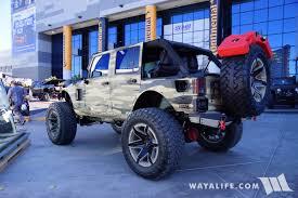 starwood motors jeep blue 2017 sema jstar camo jeep jk wrangler unlimited