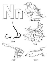 alphabet n coloring pages words of n free alphabet coloring