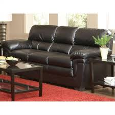 coaster fenmore casual split back leather sofa in black 502951