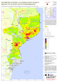 Mozambique Map Estimated Rainfall Accumulation From 01 March To 04 April 2016 In