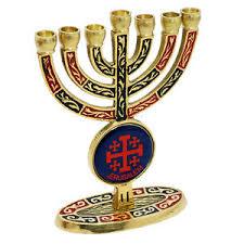 vintage menorah brass colored copper jerusalem cross vintage menorah candle holder