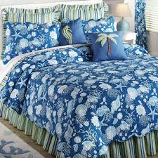 Beach Themed Comforter Sets Natural Shells Coastal Quilt Bedding With Blue Color Combined With