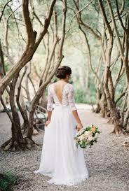 wedding dress garden party discount illusion wedding dresses a line v neck see through