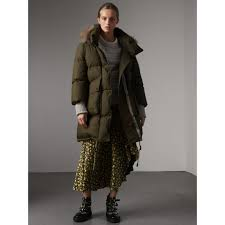 detachable fur trim and shearling hood puffer coat in olive green