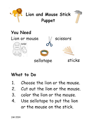 how to make the lion and the mouse stick puppets by lukeliamlion