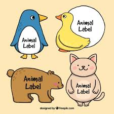 sketches of cute animals stickers vector free download