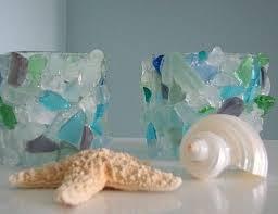 Beach Decor Sea Glass Votive Beach Glass Candle Holder In Aqua