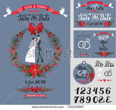 wedding invitation cardvintage christmas vectorbride white stock