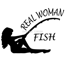 real woman fish hunting fishing trout salmon bass sticker decal on