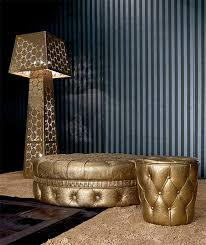 Gold Ottoman Leather Ottomans With Swarovski Crystals Luxury By Fiorentino