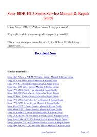 sony hdr hc3 series service manual repair guide by giler kong issuu