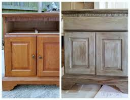how to make cabinets look distressed weathered wood makeover on oak dressers diy beautify