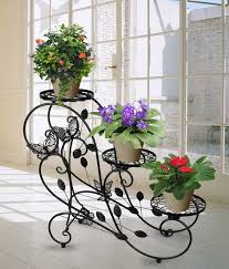 yontree 1 pc black european style iron flower pot rack balcony