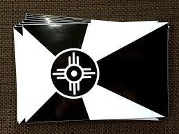 Flag It Stickers Ict Wichita Flag Decal Sticker Black White
