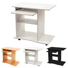 Schreibtisch Mit Rollen Computertisch Pc Schreibtisch Bürotisch In Schwarz Oder Weiß Oder