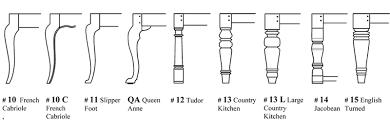 custom furniture table leg styles