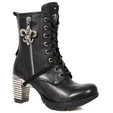 ladies motorcycle boots tr111 c1 new rock trail fleur de lys charm ladies ankle boots