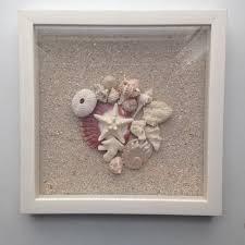 seashell and sand shadow box framed decorative sea shell