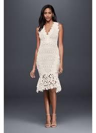 hem wedding dress mixed lace sheath midi dress with fishtail hem david s bridal