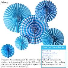 cheap paper fans 6pcs bule cheap paper fans for wedding tissue paper fans flowers